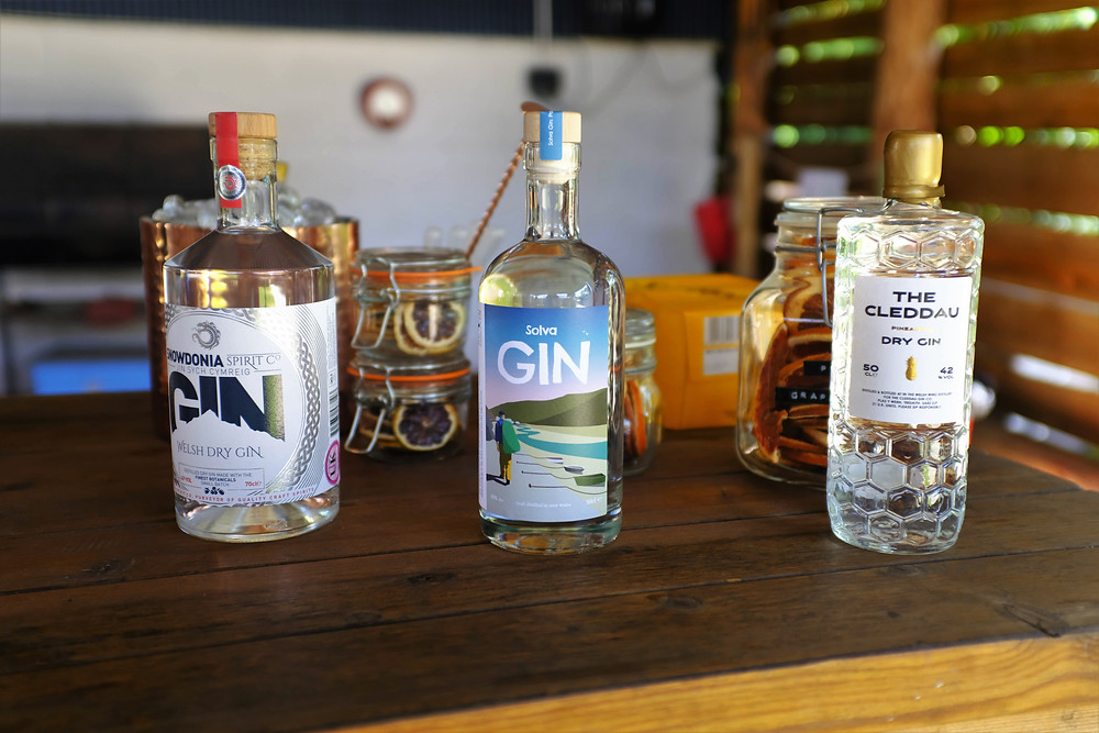 Variety of gins created by In the Welsh Wind and included in Top of the Woods Wild Gin Weekend - Top of the Woods camping & glamping supporting Small Business Saturday