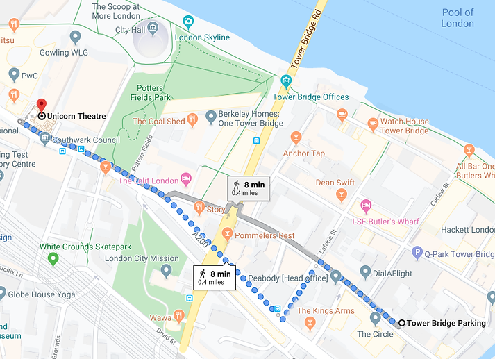 Walking directions to The Unicorn