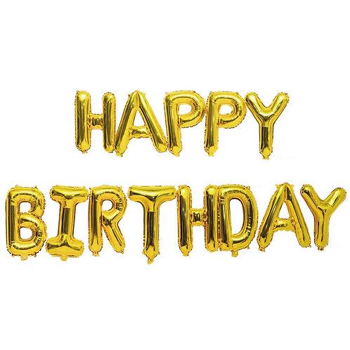 Folienballon Happy Birthday gold