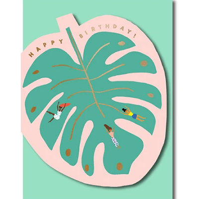 Grußkarte Happy birthday! Monster leaf