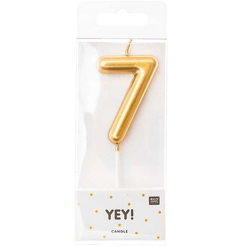 Zahlenkerze 7 gold