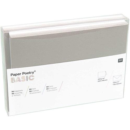 Kartenset Basic B6 weiß/grau