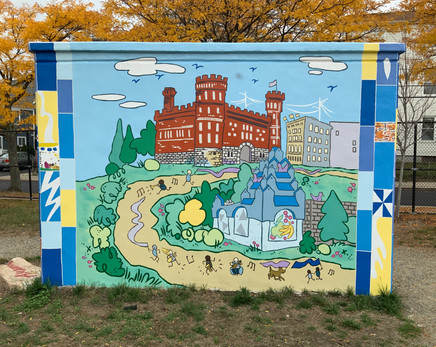 """Wall """"A"""" depicts the Pawtucket Armory, a building inspired by the Pawtucket Times headquarters, and the charismatically quirky Gilbane's Service Station (now a convenience store)."""