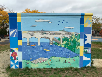 """Wall """"C"""" features the Division Street Bridge, and the Pawtucket boat launch and park area."""