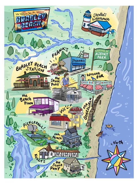 Custom Map of Bradley Beach, NJ – 2021