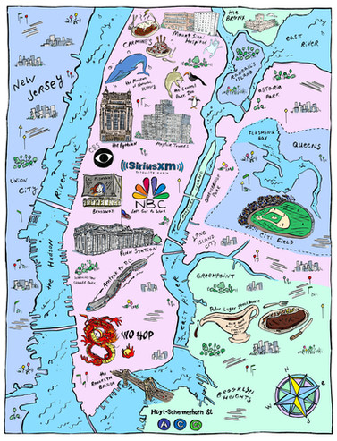 Custom map of NYC