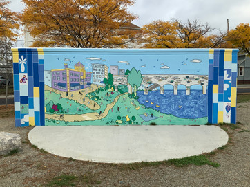 """Wall """"B"""" features the no-longer-standing Leroy Theatre, as well as the Division Street Bridge."""