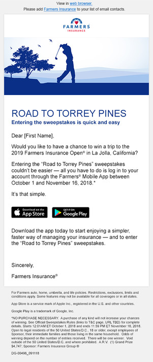 Farmers Insurance Open Sweepstakes