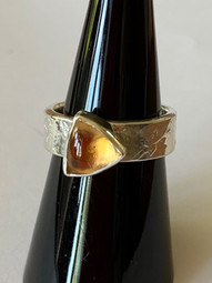 Citrine Trillion Cabochon Etched Ring