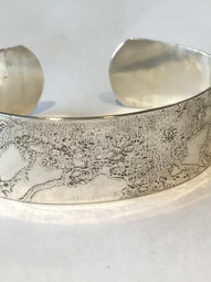 Etched Sterling Silver Cuff