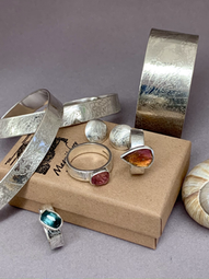 Etched Silver and Rose Cut Tourmaline Collection (one of many!)