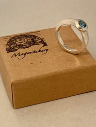 Swiss Blue Topaz Flying Saucer Hand Forged Ring
