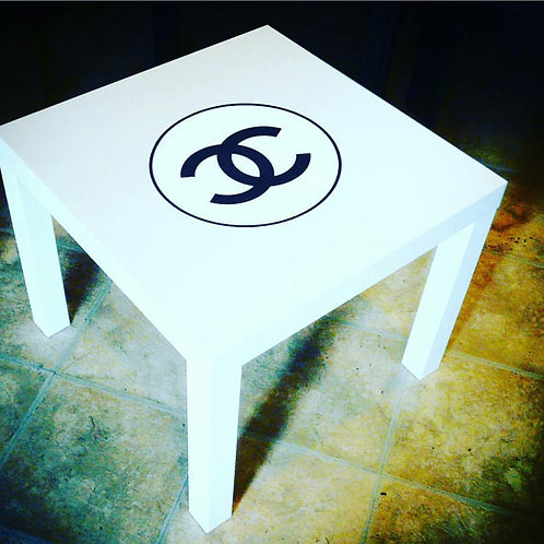 WHITE CHANEL INSPIRED END TABLE