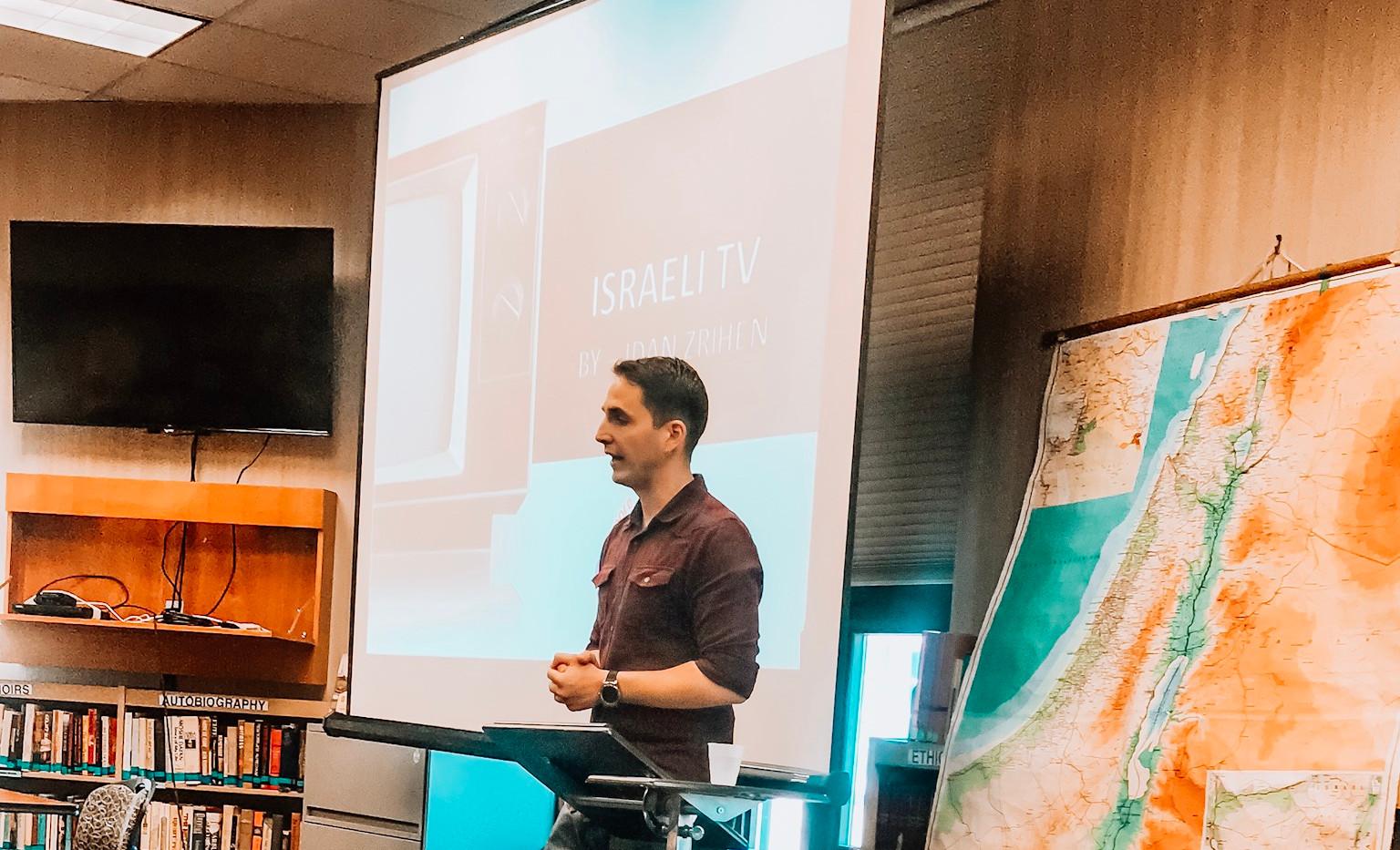 Idan talking about Israel's TV history at Beth El Congregation