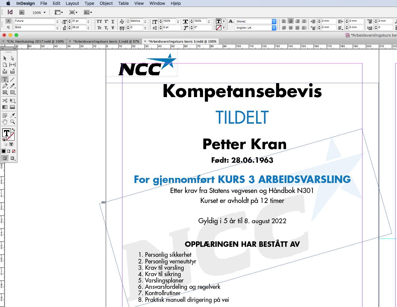 NCC Roads AS, Kompetansebevis