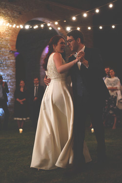 Outdoor wedding first dance