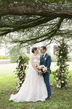 French chateau outdoor wedding ceremony