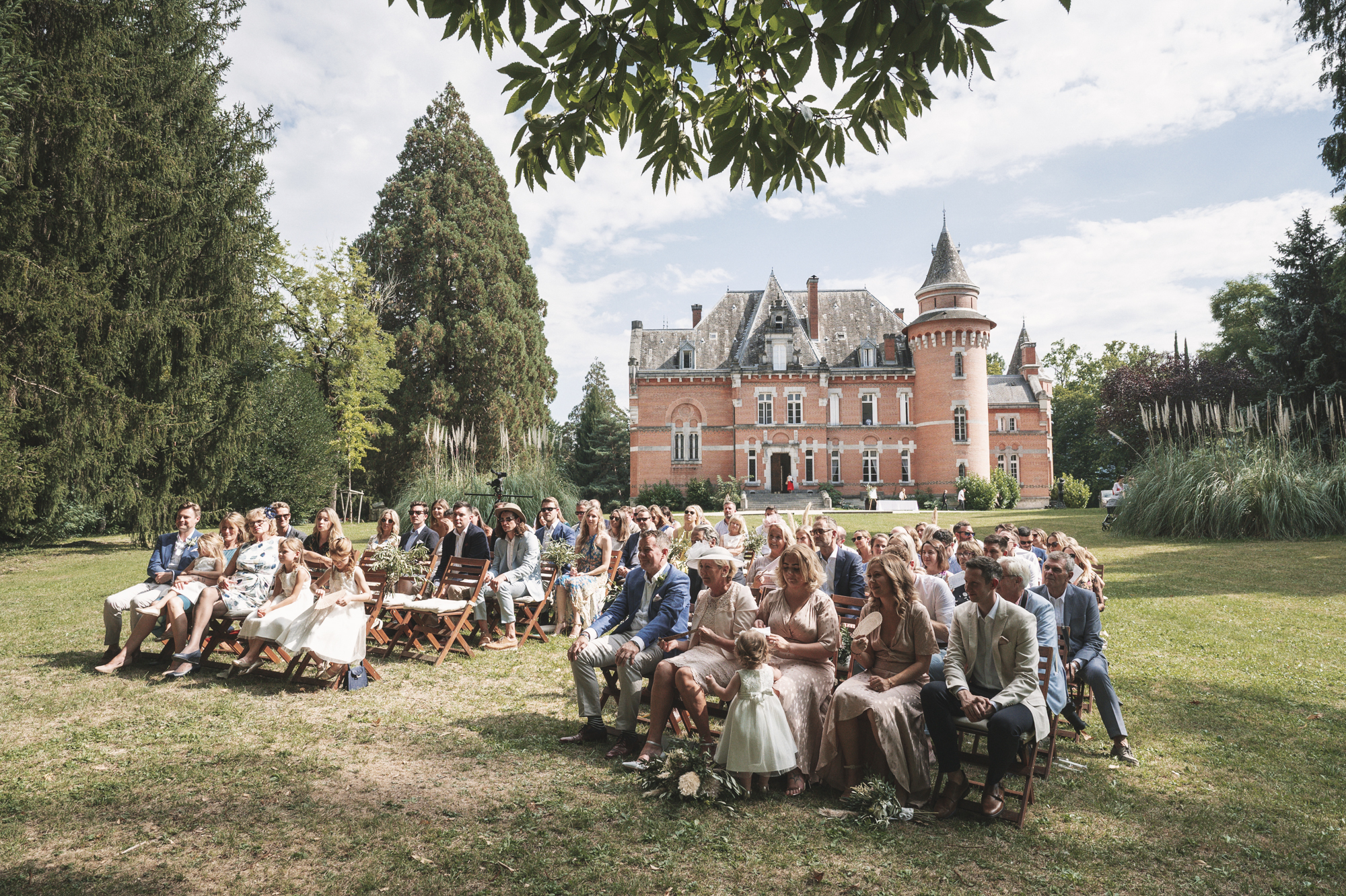 Outdoor wedding in French chateau