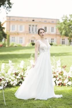 French destination wedding bride wedding dress