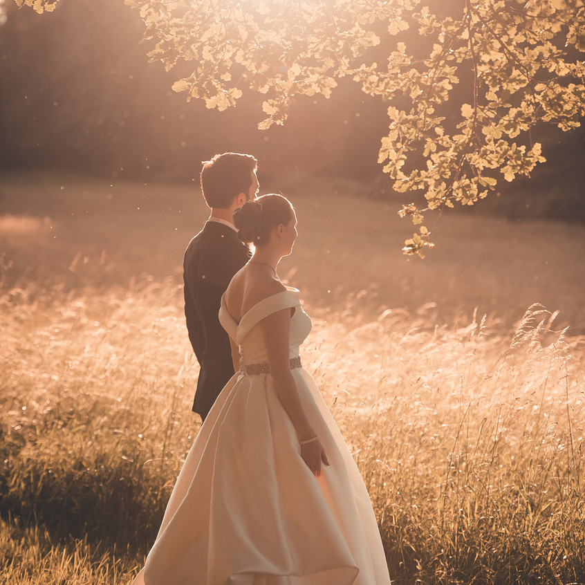 Couple in sunset light