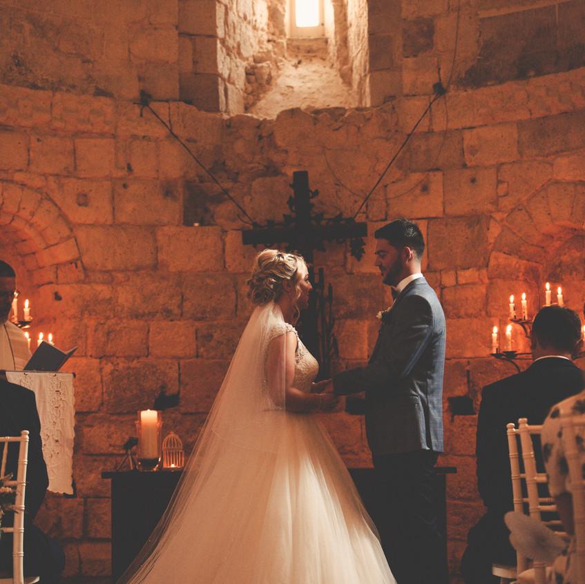 Candlelit chapel wedding ceremony