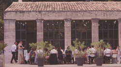 Outdoor wedding dinner in Sou France
