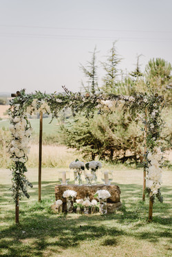 Outdoor ceremony in French chateau