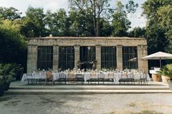 Outdoor wedding dinner in France