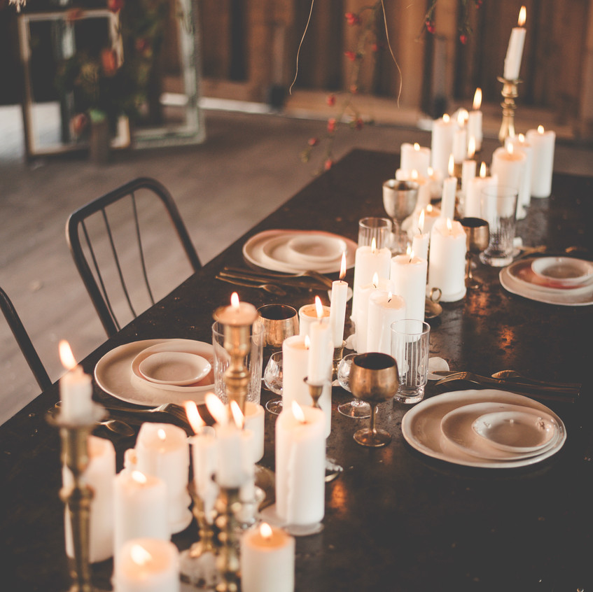 Candles and brass wedding style