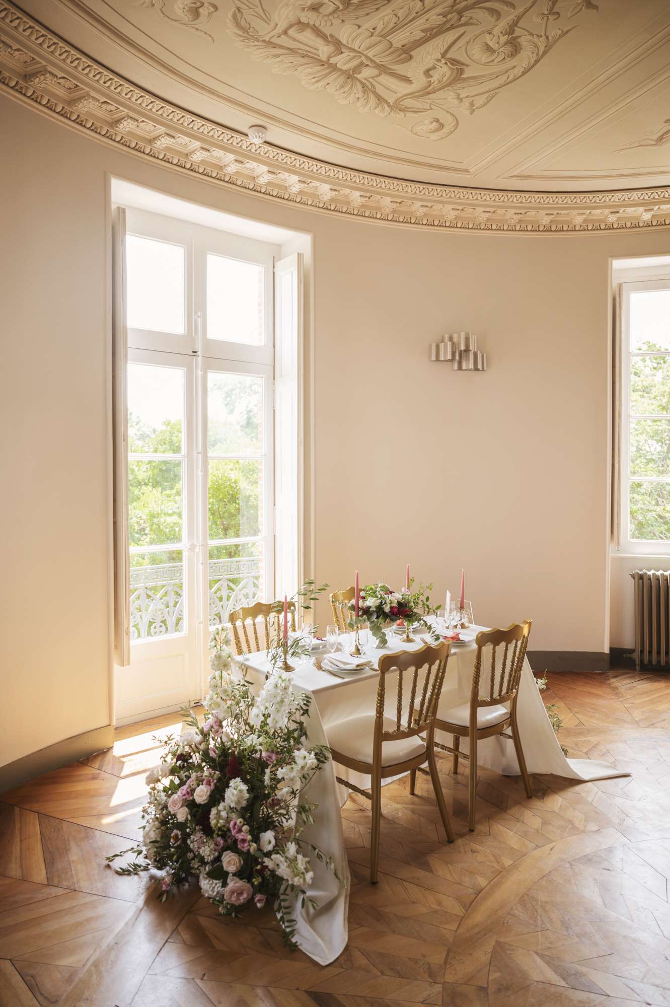 Wedding dinner set up in French chateau