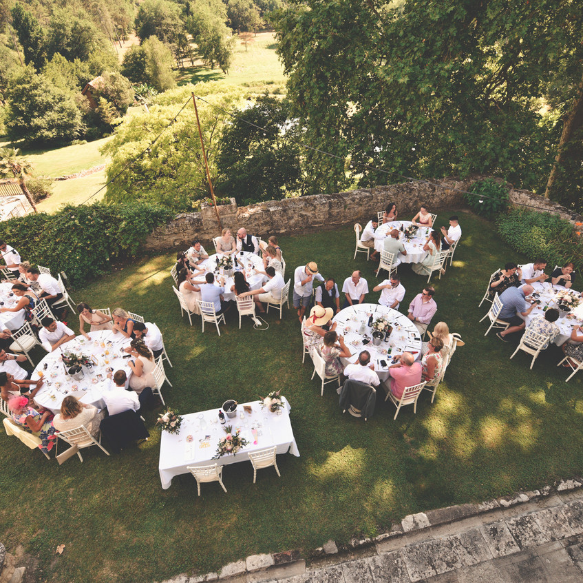 Outdoor dinner in French chateau