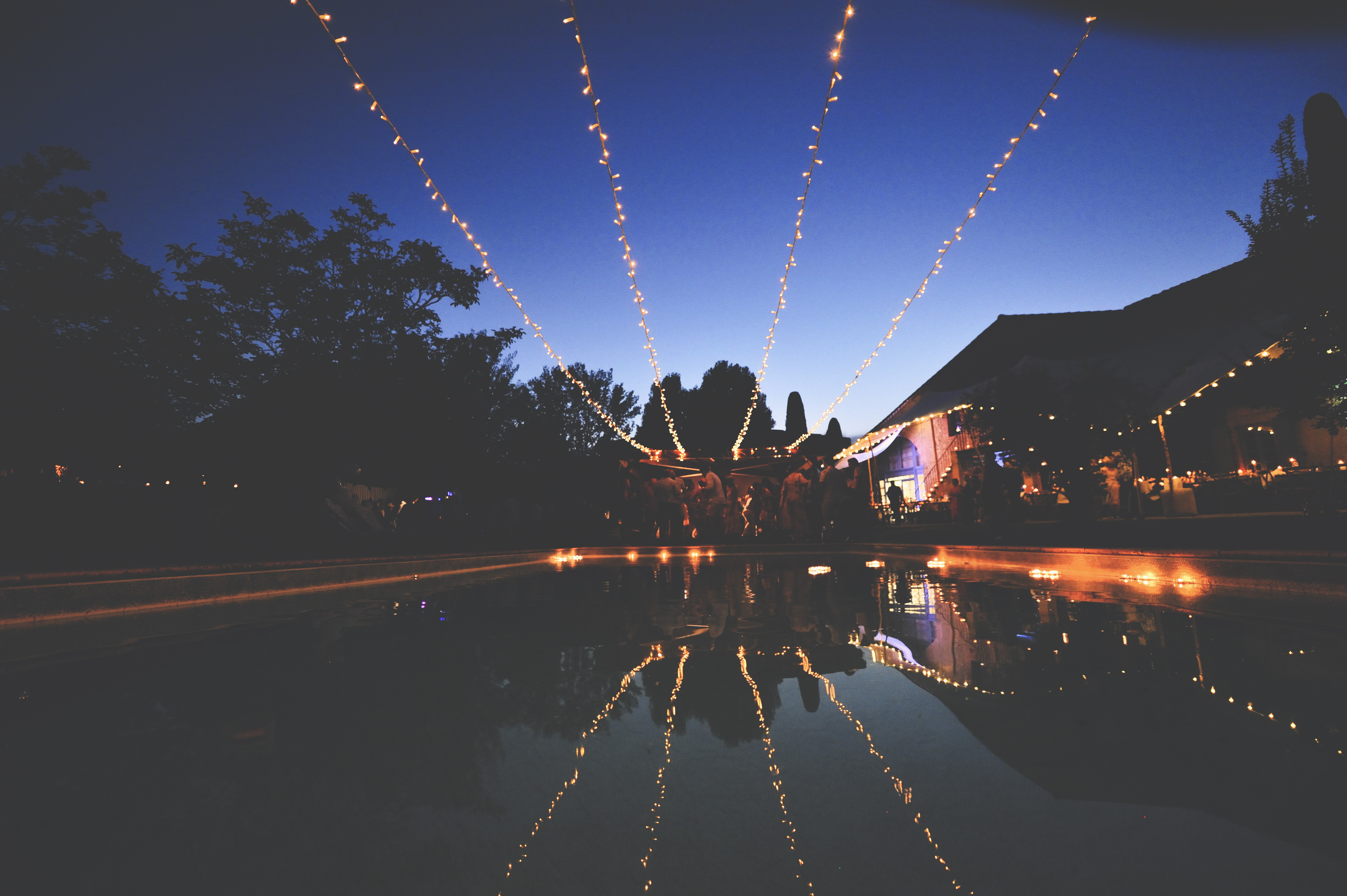 Outdoor wedding party fairy lights