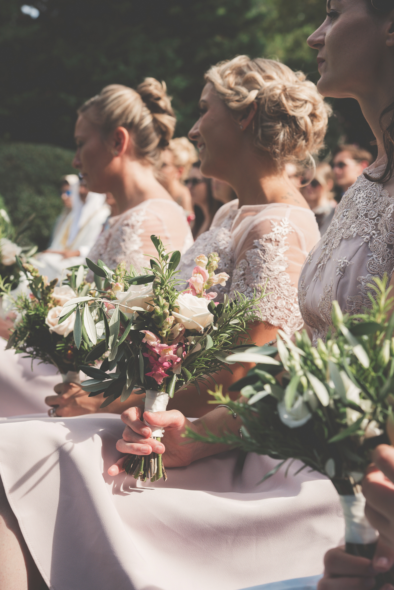 Wedding flowers and bridesmaids