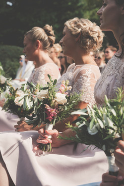 Wedding flowers and bridesmaids