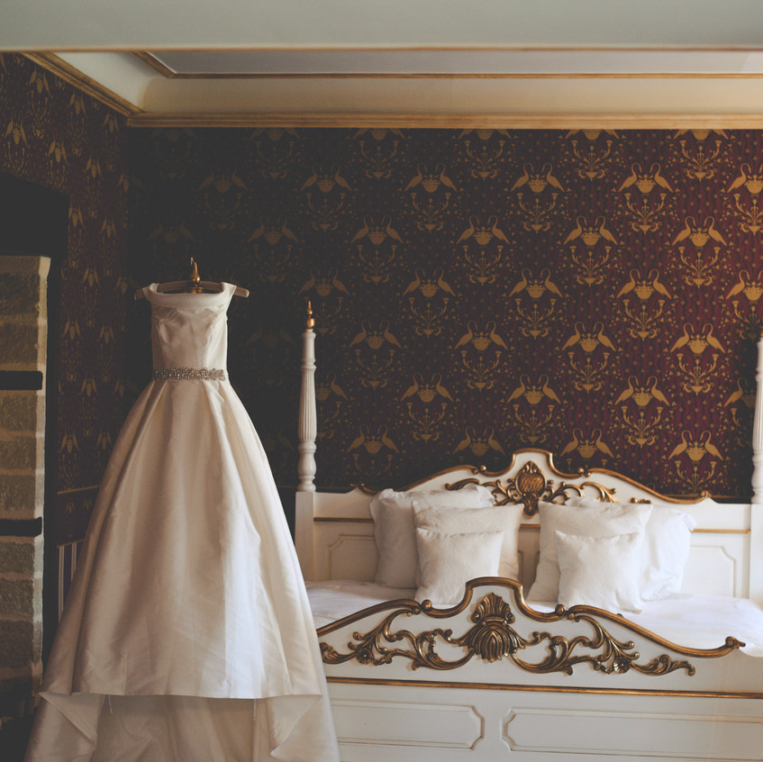 Wedding dress. Chateau wedding