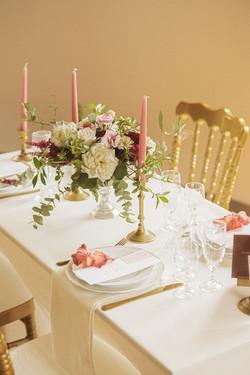Fine art wedding in France dinner setting