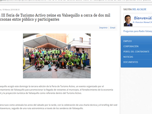 La III Feria de Turismo Activo reúne en Valsequillo a cerca de dos mil personas entre público y part