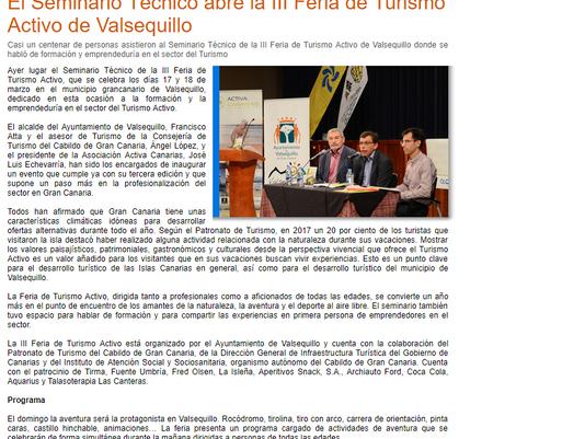 El Seminario Técnico abre la III Feria de Turismo Activo de Valsequillo
