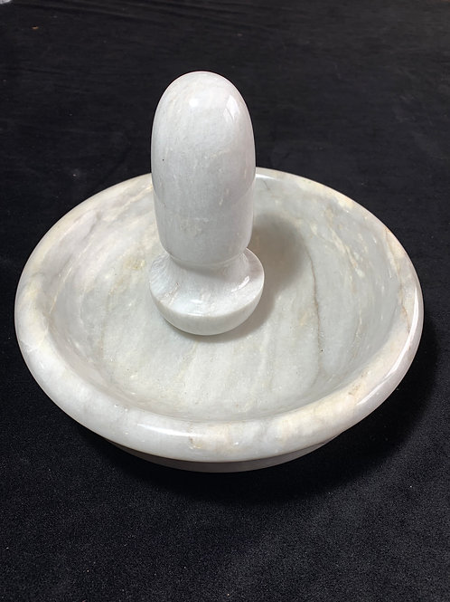 Italian White 9 inch flat marble pestle and mortar