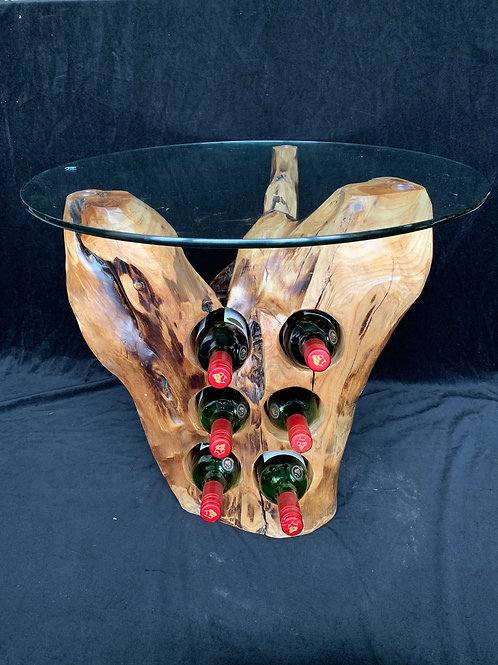 6 Bottle Wine Holder Glass Top