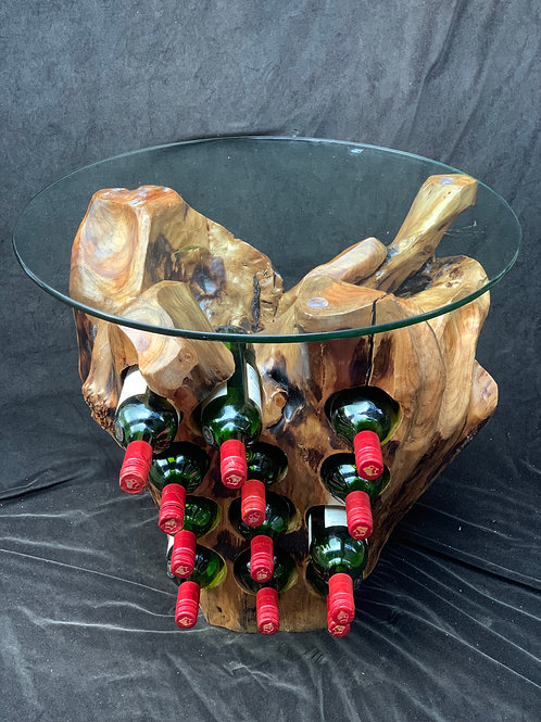 12 Bottle Wine Holder with Glass Top