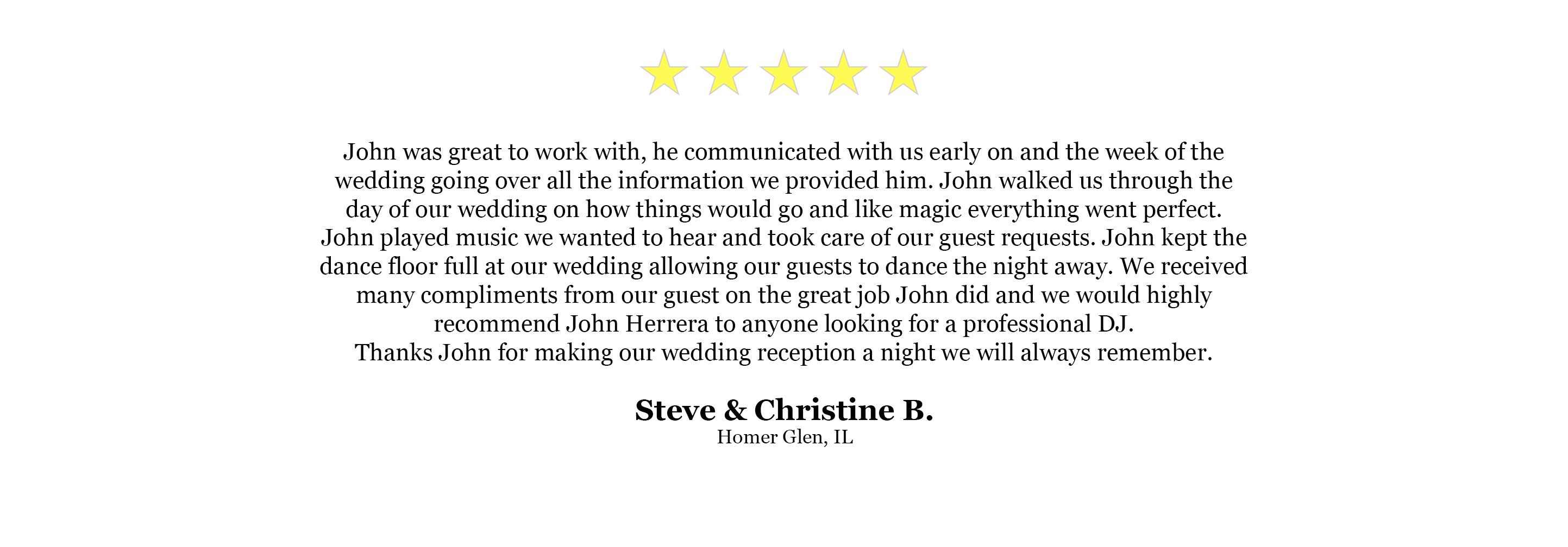 DJ Website Quote - Steve Christine