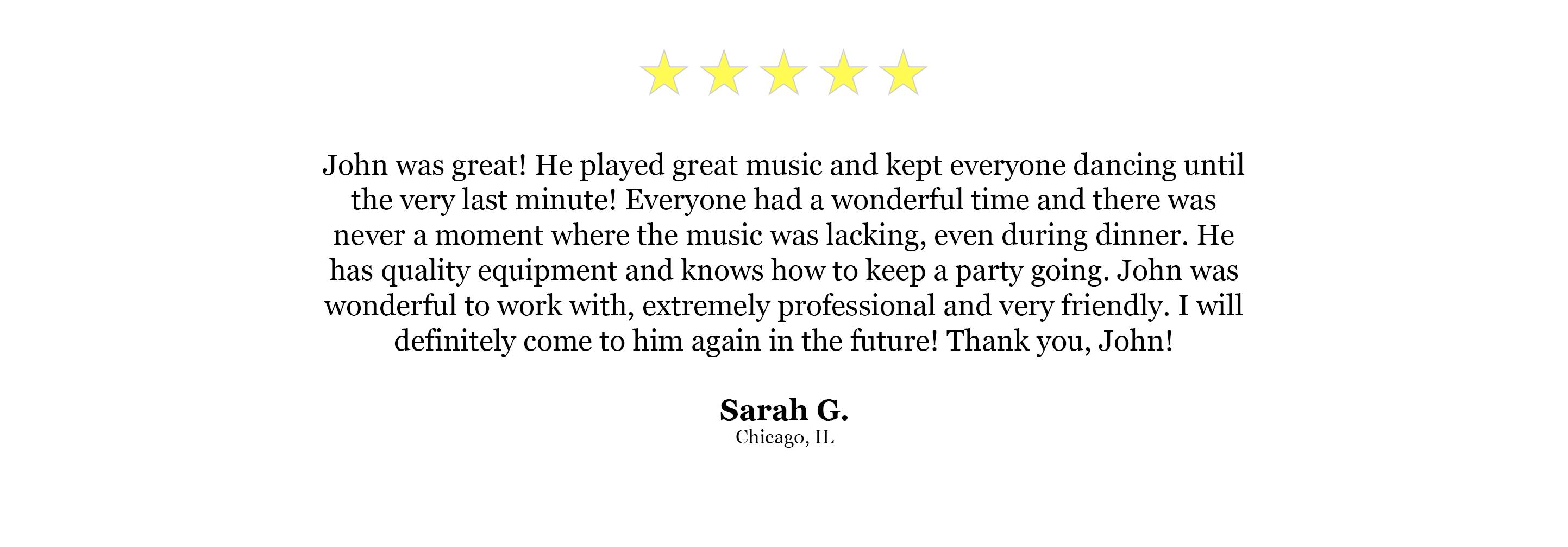 DJ Website Quote - Sarah G