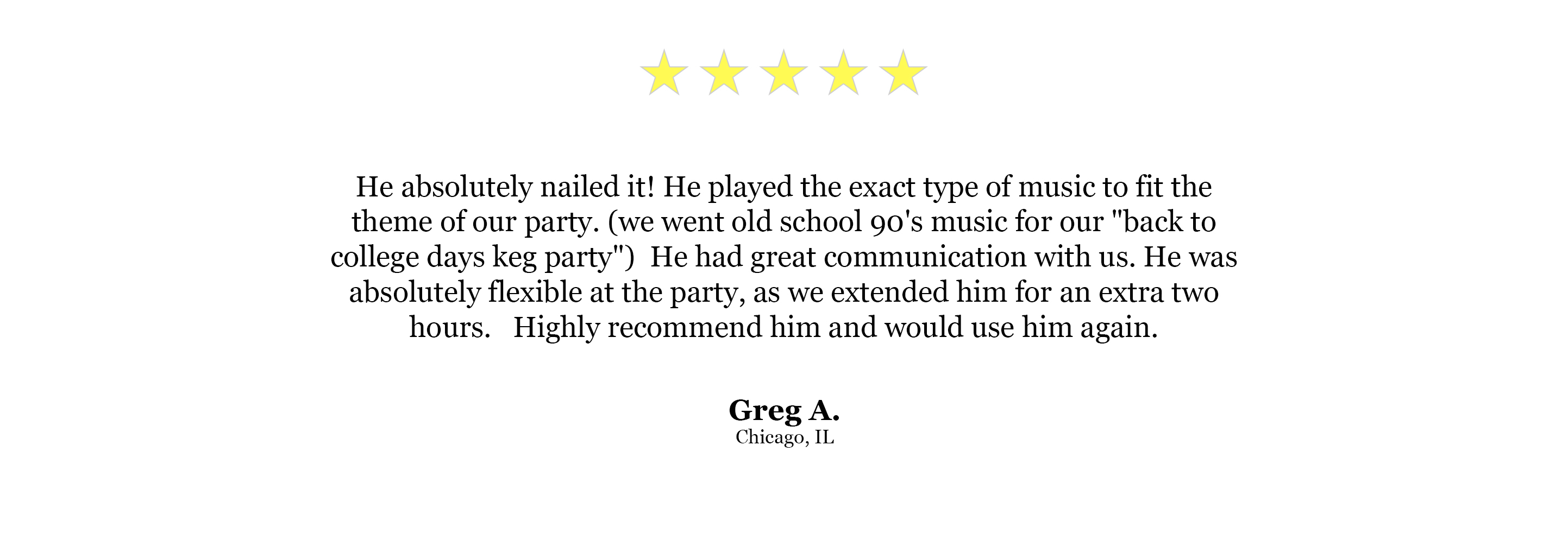 DJ Website Quote - Greg A