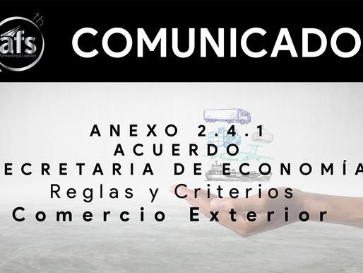Anexo 2.4.1 del Acuerdo SE Reglas y criterios carácter general comercio exterior