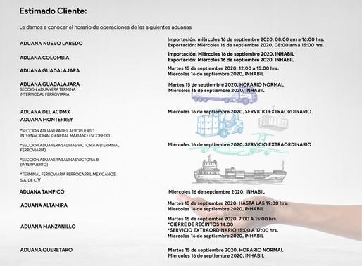 Operación aduanal en México durante festivos del mes de septiembre