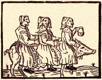 Three witches riding a pig facing right.