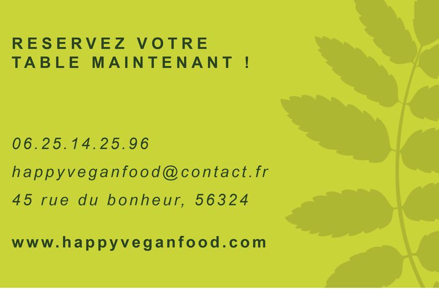 carte de visite restaurant vegan