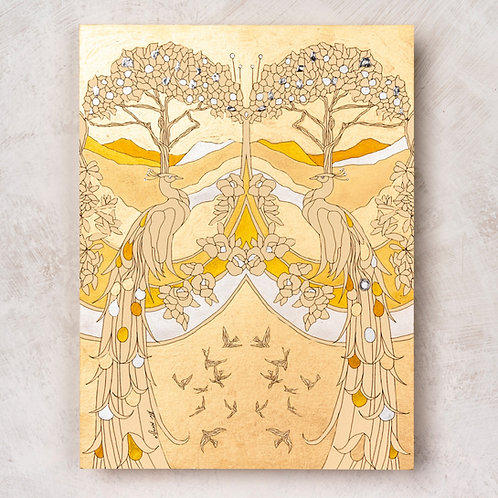 Golden Peacocks - Hand painted wall art