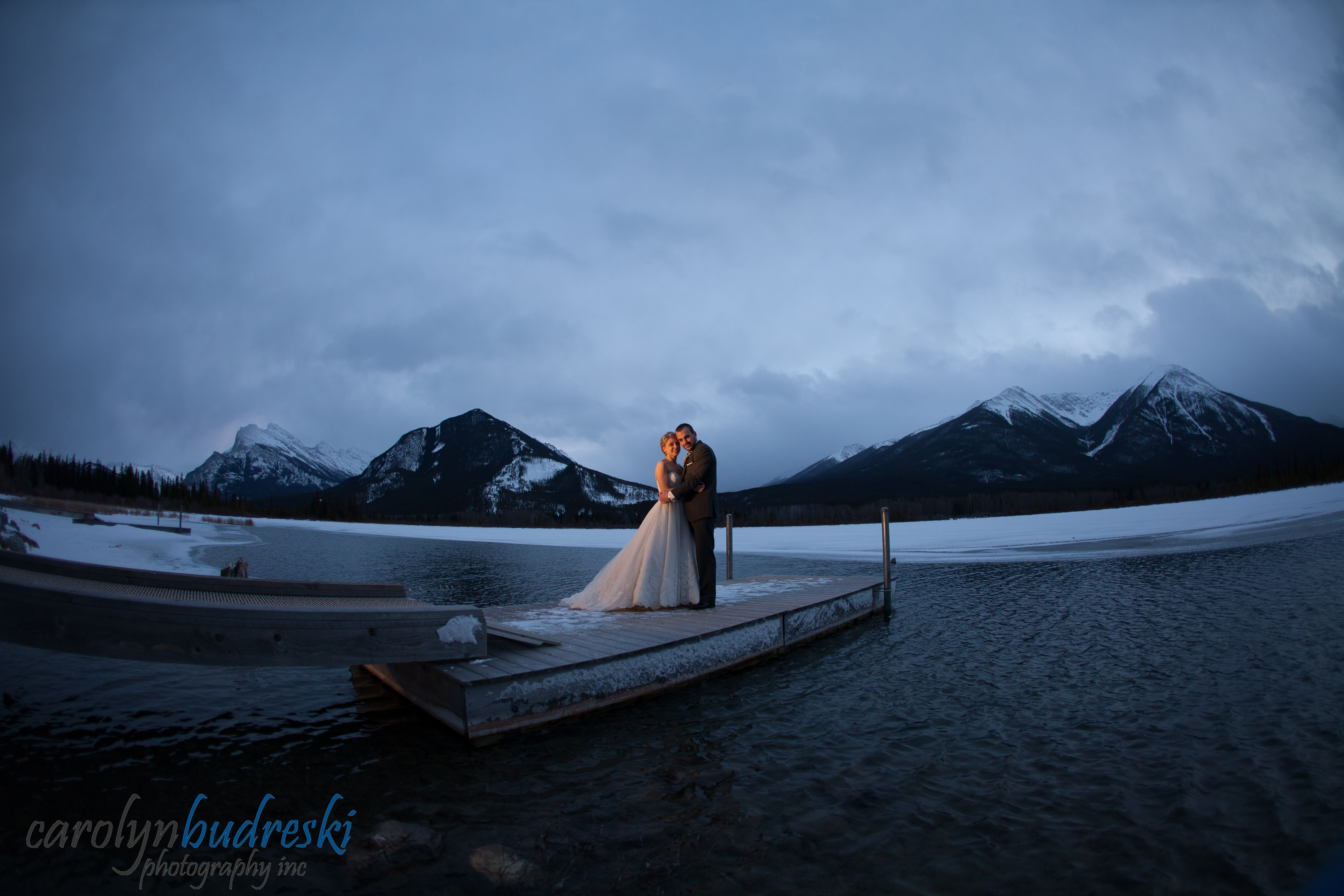 banff night wedding photography